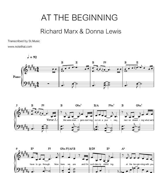 At The Beginning (Richard Marx & Donna Lewis) piano