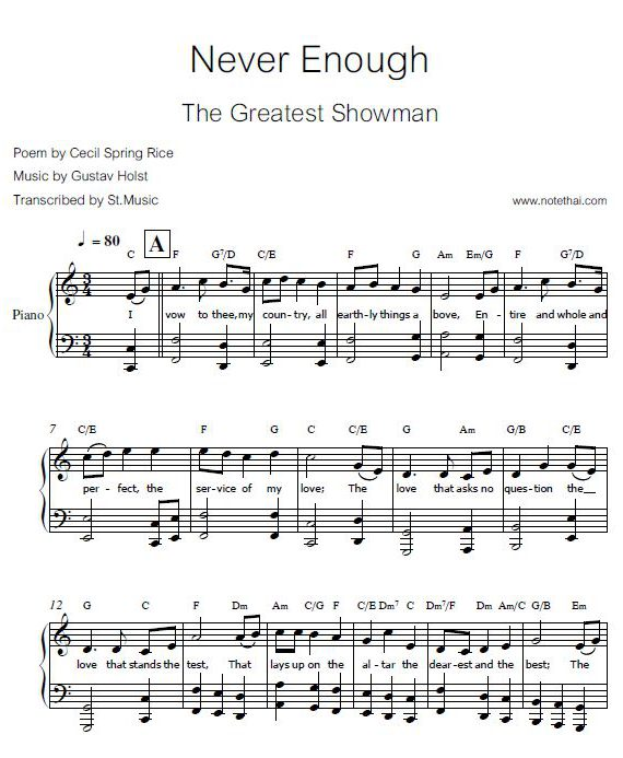 Never Enough (The Greatest Showman) piano