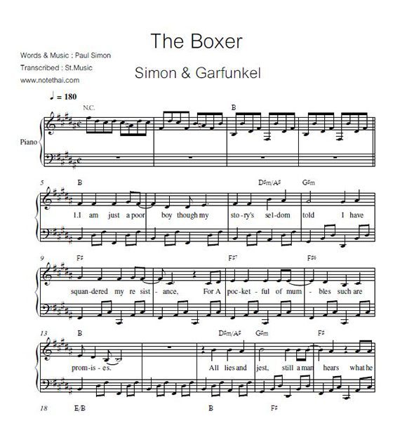 The Boxer (Simon & Garfunkel) piano
