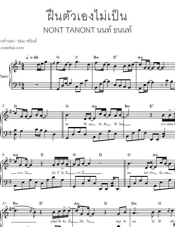 ฝืนตัวเองไม่เป็น (นนท์ ธนนท์) เปียโน