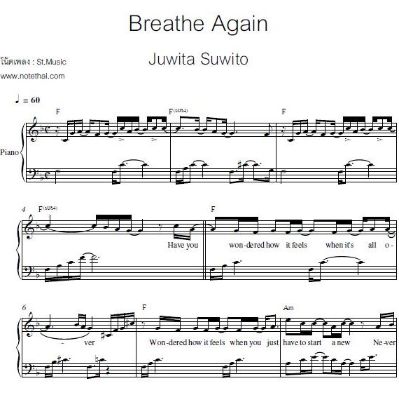 Breathe Again (Juwita Suwito) piano